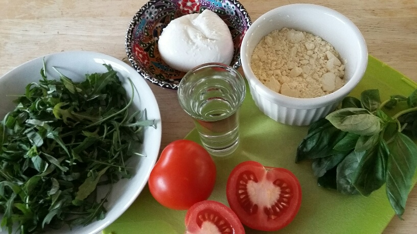 Photo of ingrediients for Socca Pizza